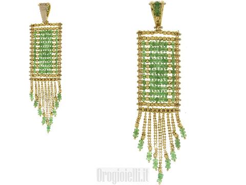 Artigianato diventa Arte: Ciondolo con smeraldi in oro giallo 18kt