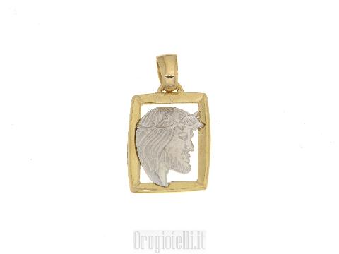 Ciondolo con testa di Cristo in oro