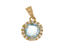 Gold Jewells: Pendant with blue topaz in 18ct gold