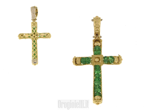 Ciondolo croce con smeraldi SUN DAY