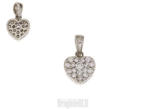 Ciondolo cuore San Valentino in oro e diamanti