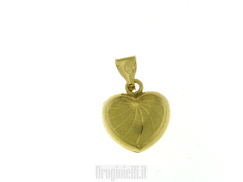 Ciondolo cuore bombato in oro giallo