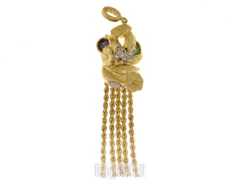 Ciondolo floreale in oro giallo e pietre