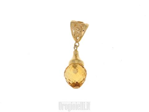 Gioielli artigianali in oro Ciondolo goccia con citrino giallo
