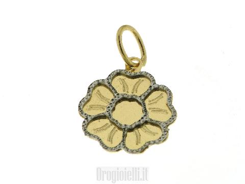 Ciondolo margherita in oro  bicolore