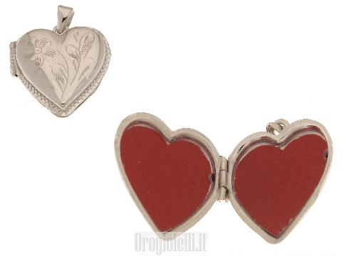 Ciondolo portafoto cuore in argento 925