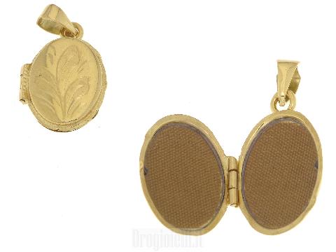 Ciondolo portafoto ovale in oro 18 kt
