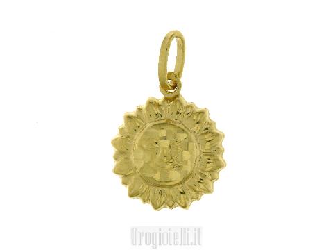 Ciondolo sole in oro giallo 18 carati