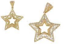 Ciondolo stella in oro bicolore 18 kt