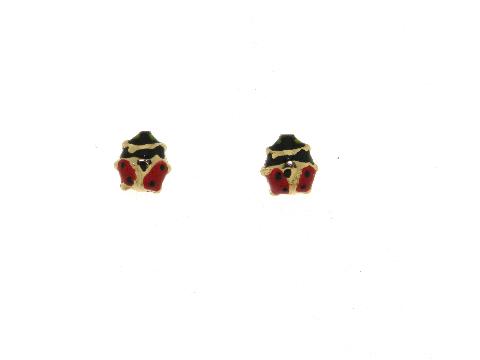 Orecchini per bimba a Coccinella rossa in oro giallo 18 kt carati