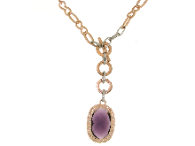 Gold Jewells: Roggi necklace with center purple Fashion Couture