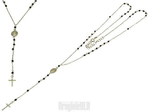 Collana a rosario in argento 925 e onice
