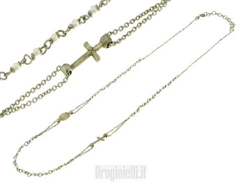 Collana argento 925 rosario con perle