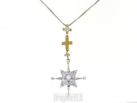 Collana bicolore con croce e stella