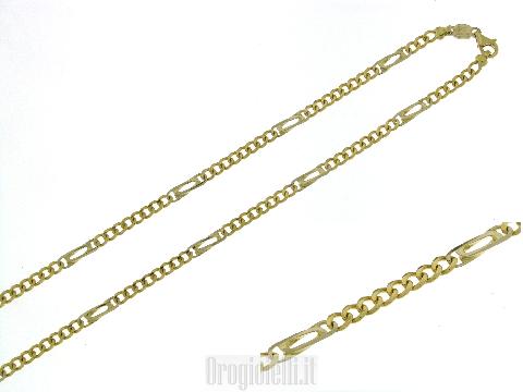 Collana classica in oro due colori maglia grumetta