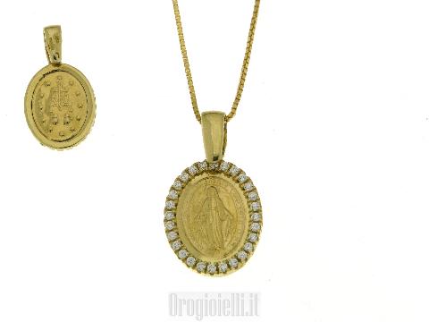 Collana con Madonna Miracolosa in oro giallo