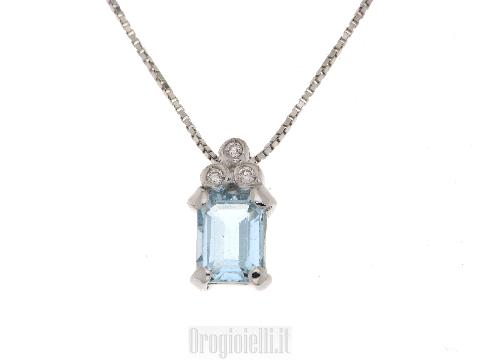 Collana con acquamarina e diamanti