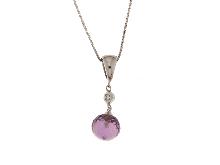 Collana con ametista viola e diamante