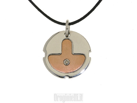 Collana cordina con ciondolo in bronzo acciaio e diamante