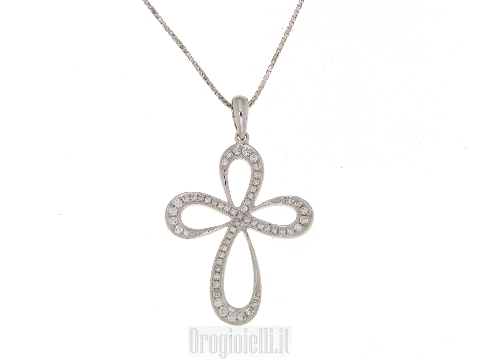 Collana con croce con diamanti