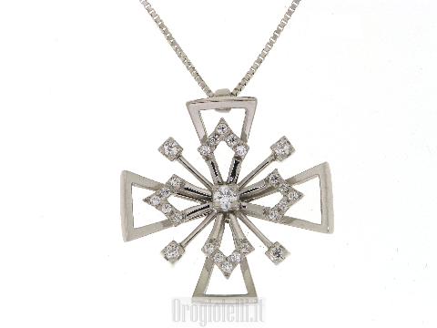 Collana con croce e zirconi in oro bianco