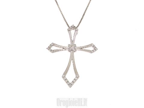 Collana con croce in diamati oro bianco