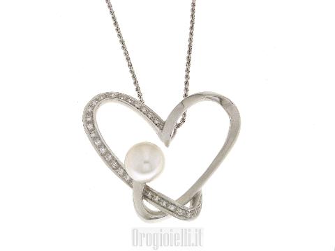 Collana con cuore, perla e diamanti per MATRIMONIO