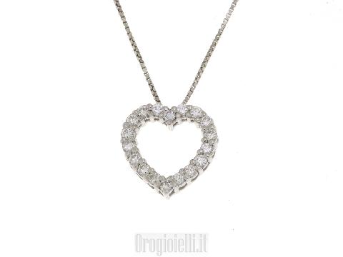 Gioielleria Italiana Collana oro bianco con cuore in diamanti