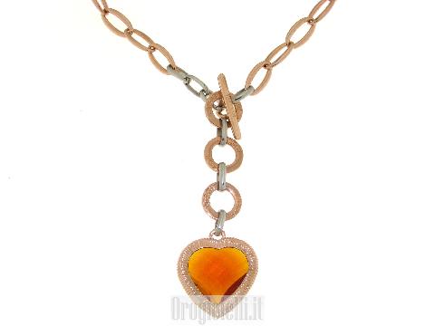 Collana con cuore in pietra colorata