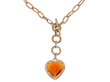 Gold Jewells: Colored necklace with a heart of stone
