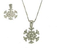 Collana con fiocco di neve in oro e zirconi