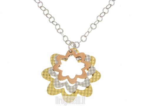 Gioielli Stock:Collana con fiori tre colori in silver