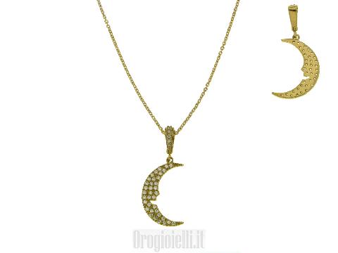 Collane oro prezzo SUPER Collana con luna e zirconi