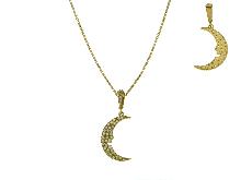 Joyas de oro: Y collar zirconia cúbica con la luna
