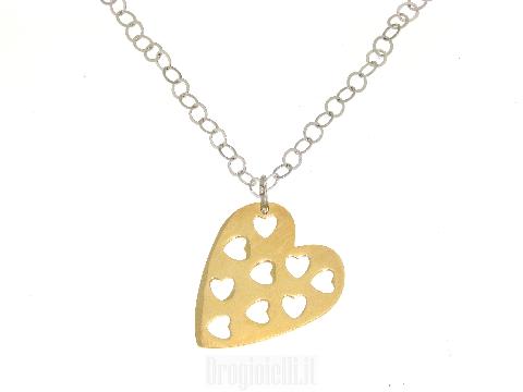 Collana in argento con pendente a cuore giallo