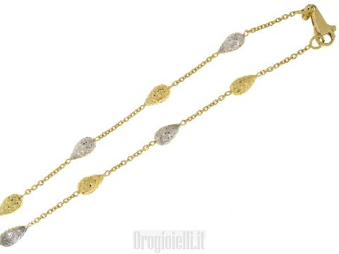 Collana con pepite diamantate bicolore