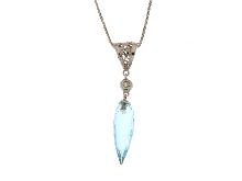 Collana con pietra di topazio azzurro
