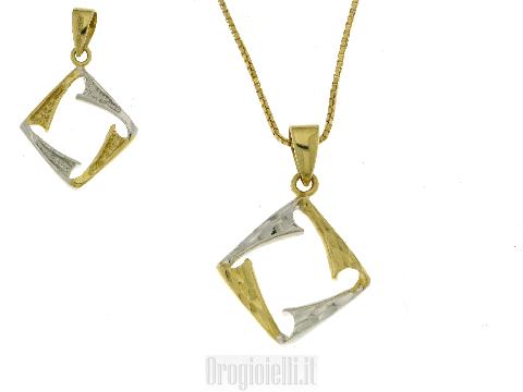 Collana con rombo bicolore diamantato 18 kt