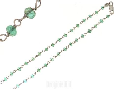 Collana con smeraldi in oro bianco
