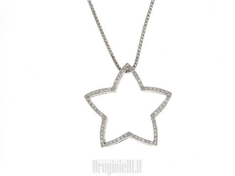 Collana con stella e diamanti in oro