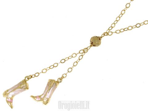 Collana con stivali smaltati in oro