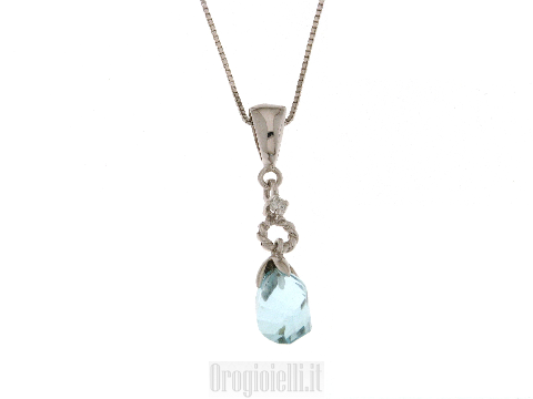 Collana con topazio azzurro e diamante per SPOSA