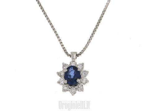 Collana oro bianco donna con zaffiro e diamanti