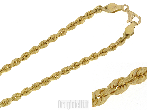 Collana corda laser mm.3 in oro giallo