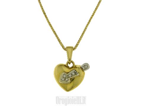 Collana cuore in oro giallo 18kt S.valentino