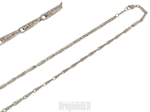 Collana diamantata con inserti in oro bianco