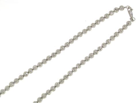 Collana a palline (sfere) diamantata in oro bianco 18 kt