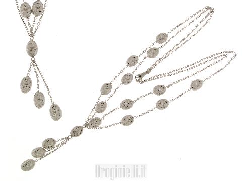 Collana doppio filo con pepite NOVELLO in oro bianco 18 kt