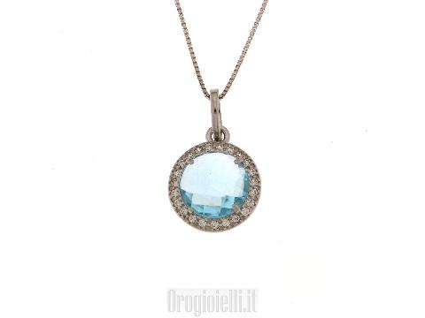 Collana in argento con topazio azzurro