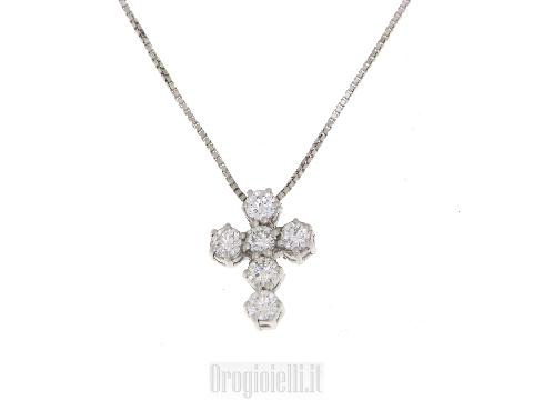 Collana in oro  con croce in diamanti